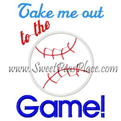Take me out to the Ball Game Applique Embroidery Design