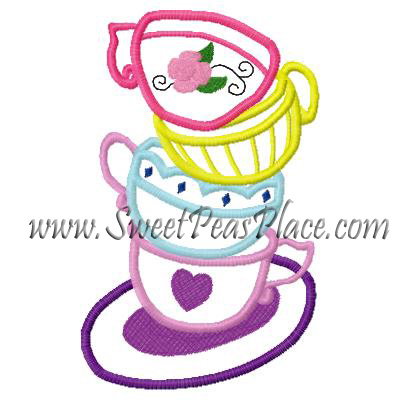 Tea Cups 2 Applique Embroidery Design