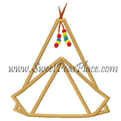 Tee Pee Applique Embroidery Design