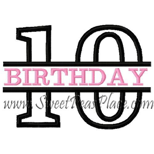 Tenth Birthday Applique Embroidery Design