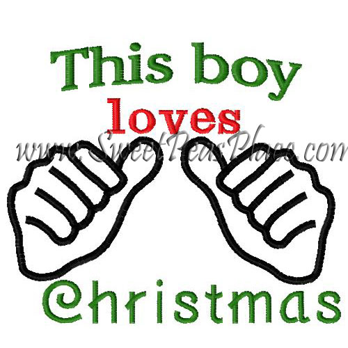 This boy loves Christmas Embroidery Design