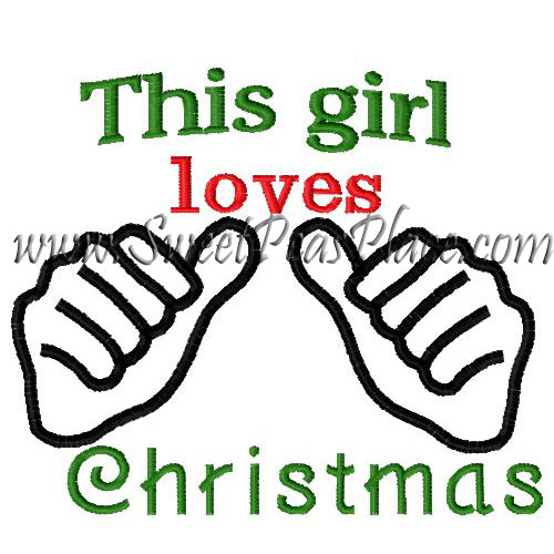 This girl loves Christmas Embroidery Design