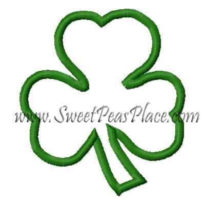 Three Leaf Clover Applique Embroidery Design
