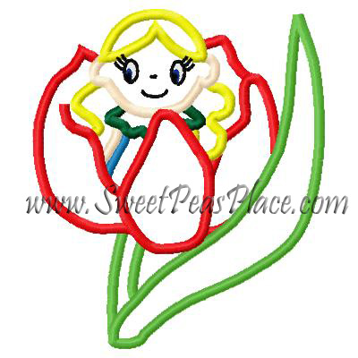 Thumbelina Applique Embroidery design