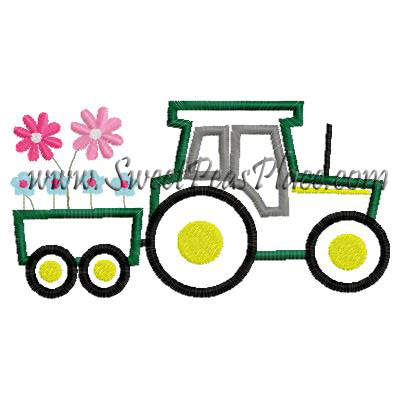 Tractor with Flowers Applique Embroidery Design