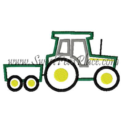 Tractor with Cart Applique Embroidery Design