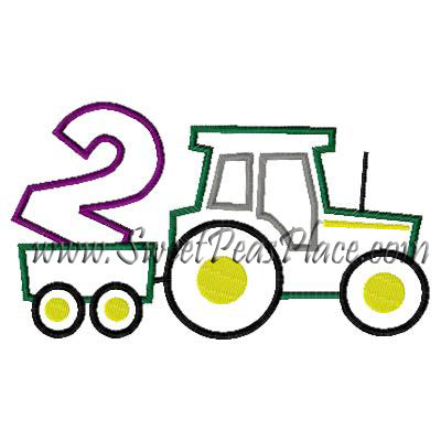 Tractor with Number 2 Applique Embroidery Design