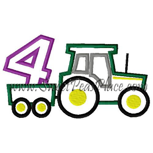 Birthday tractor with number four applique embroidery