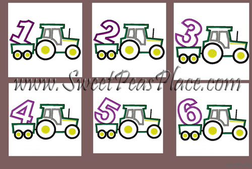 e6c1a00a7ca33 Elephant Tutu Applique Embroidery Design · Tractor Set with Numbers 1-6