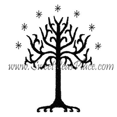 Halloween Tree Filled Embroidery Design