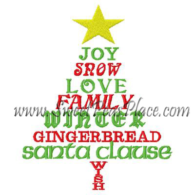 Christmas Tree with Words Embroidery Design