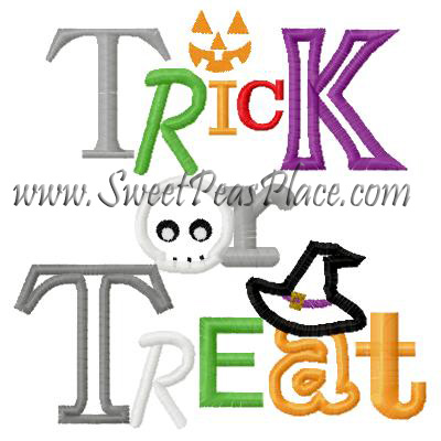 Trick or Treat Applique Embroidery Design