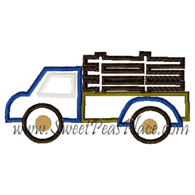 Transportation Truck 2 Applique Embroidery Design Sweet Peas Place