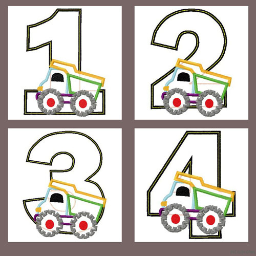 Truck Number Set 1-4 Applique Embroidery Design