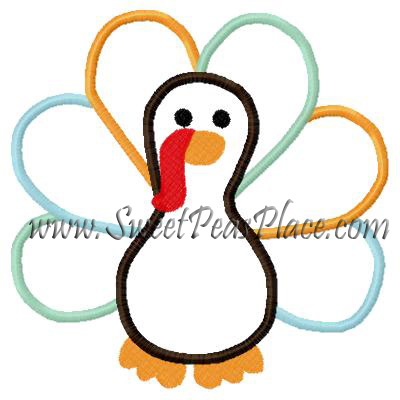 Turkey Thanksgiving Applique Embroidery Design 3