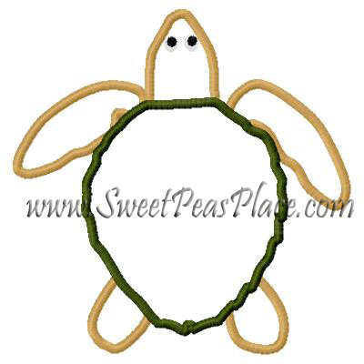 Turtle 2 Applique Embrodery Design