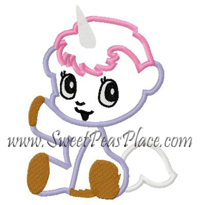 Unicorn 2 Applique Embroidery Design