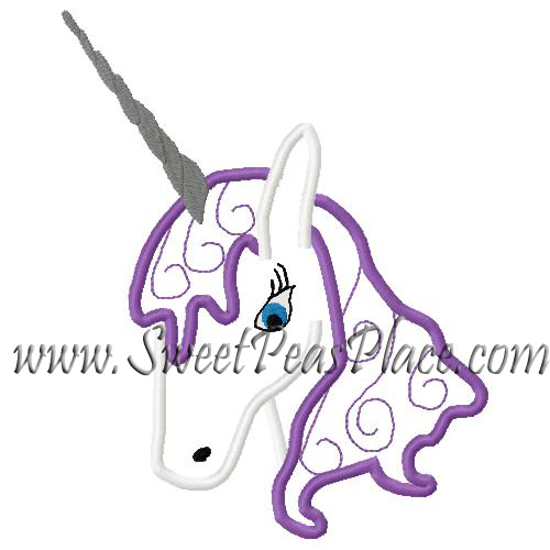 Unicorn 4 Applique Embroidery Design