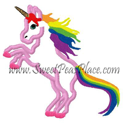 Unicorn with Rainbows Applique Embroidery Design