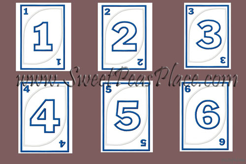 Playing Cards 1-6 Applique Embroidery Design