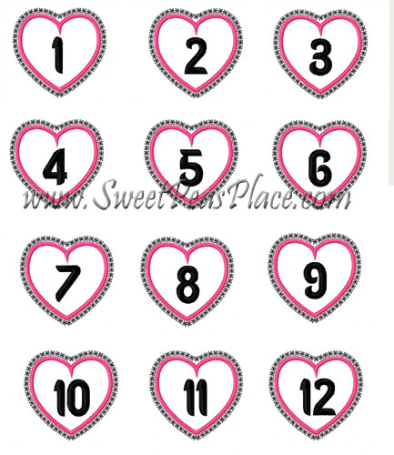 Valentine Number set 1-12 Applique Embroidery Design