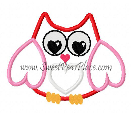 Valentine Owl Applique Embroidery Design