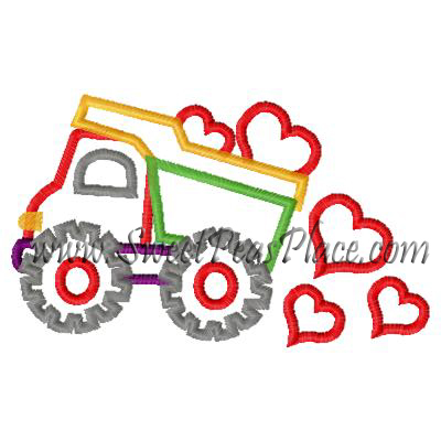 Valentine Truck with Hearts Applique Embroidery Design