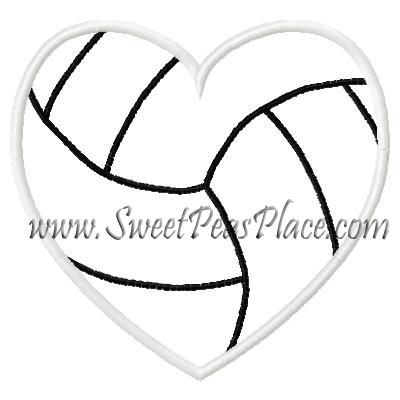 Volley Ball Heart Applique Embroidery Design