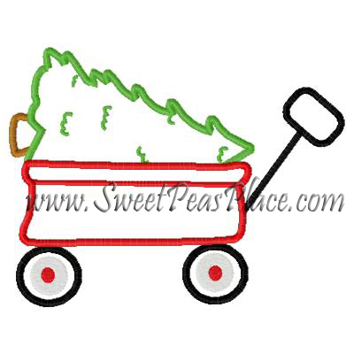 Wagon with Christmas Tree Applique Embroidery Design
