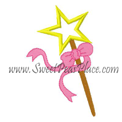 Fairy Wand Applique Embroidery Design