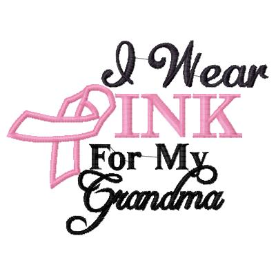 I wear Pink for Grandma Applique Embroidery Design