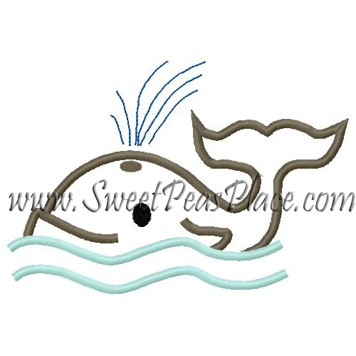 Whale with Waves Applique Embroidery Design