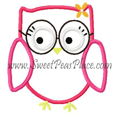 Smart Owl With Glasses Applique Embroidery Design