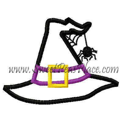 Witches Hat with Spider Applique Embroidery Design