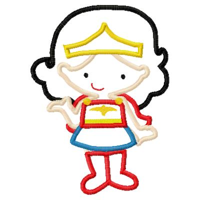 Wonder Girl Applique Embroidery Design