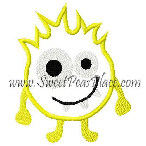Yellow Monster Applique Embroidery Design