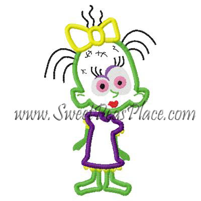 Zombie Girl Applique Embroidery Design